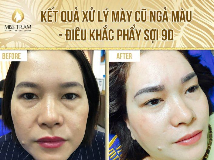 The results of beautiful eyebrows after handling old eyebrows, sculpting eyebrow flakes 9D