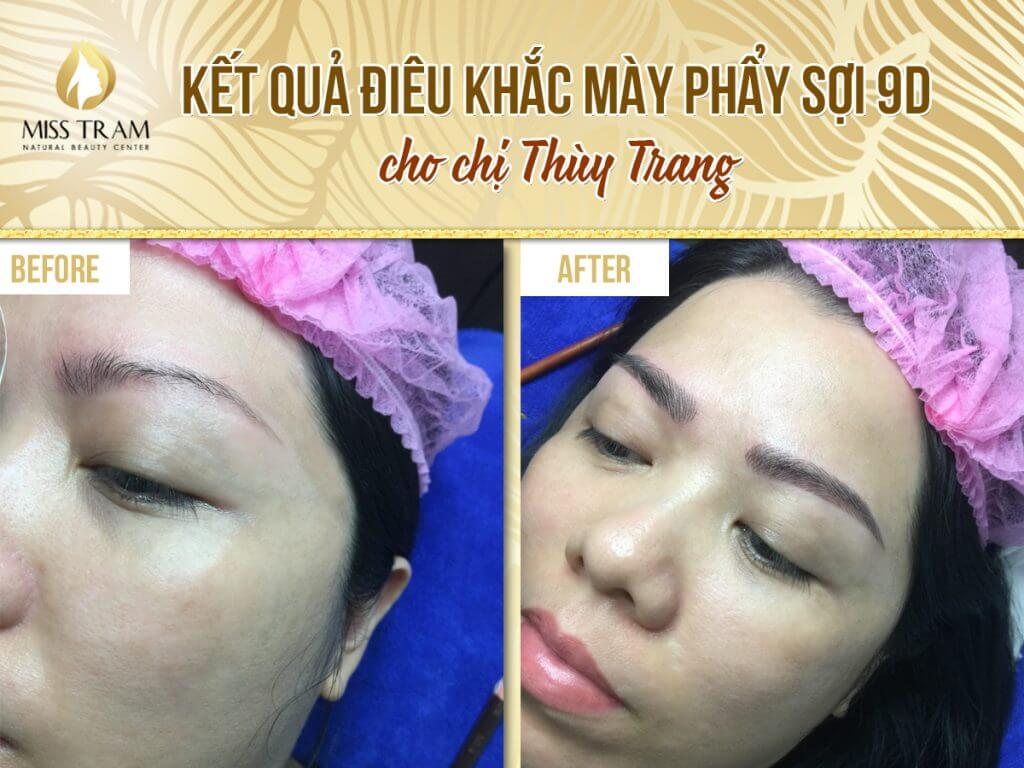 Kết quả điêu khắc mày phẩy sợi 9D – Chị Thùy Trang
