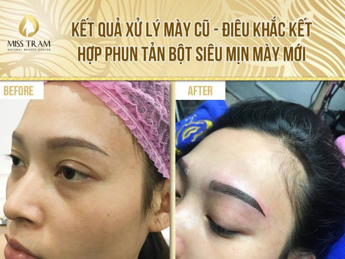 Results of processing old eyebrows, sculpting combined with new super fine powder spraying