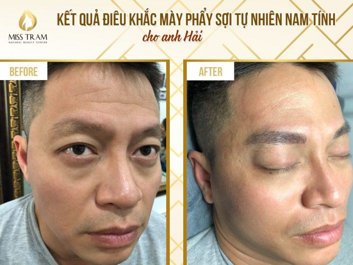The result of Hai's fiber-sculpting eyebrow sculpture