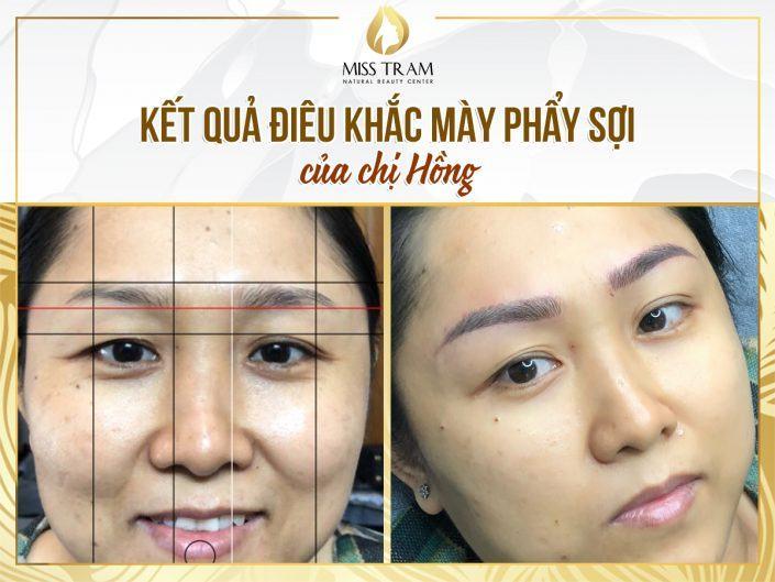 Kết Quả Điêu Khắc Mày Phẩy Sợi 9D Cho Chị Hồng Tại  Miss Tram