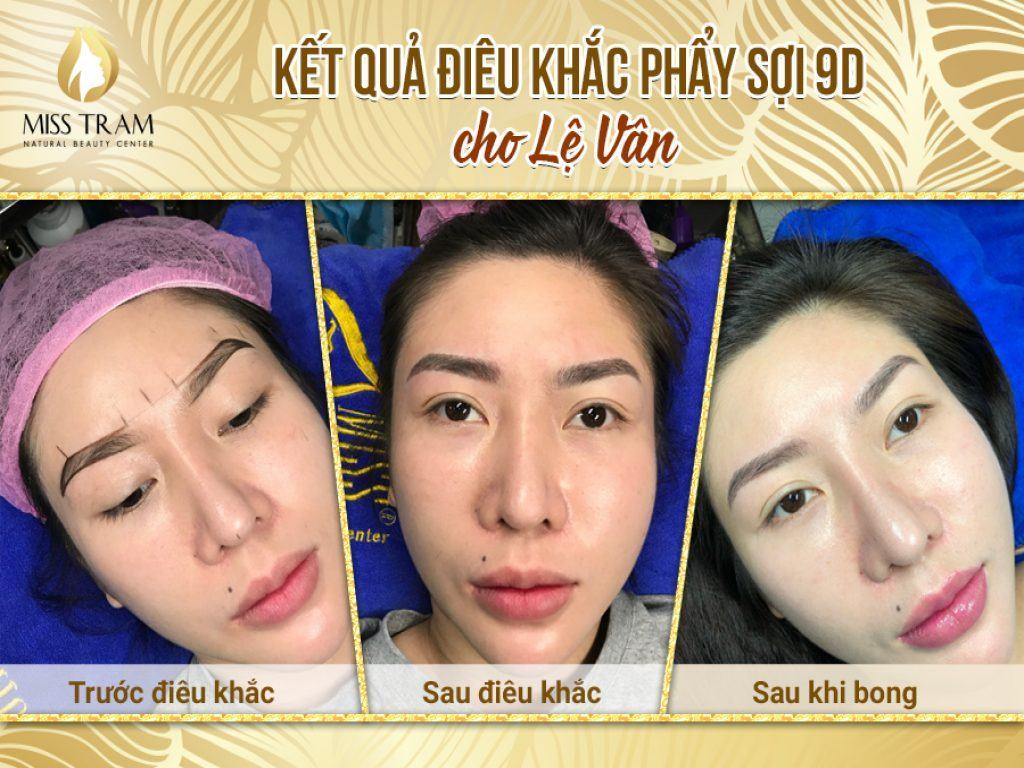 Chị Lê Vân Điêu Khắc Mày Phẩy Sợi 9D Tại Thẩm Mỹ Miss Tram
