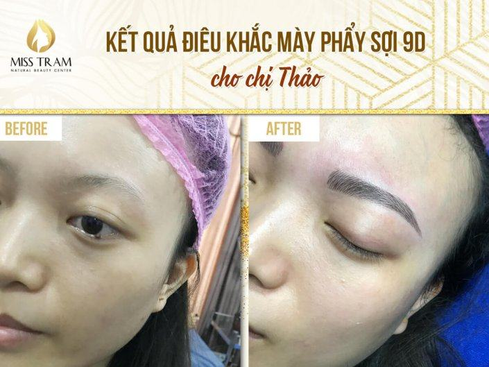 The result of creating a standard eyebrow and sculpting thread for Ms. Thao
