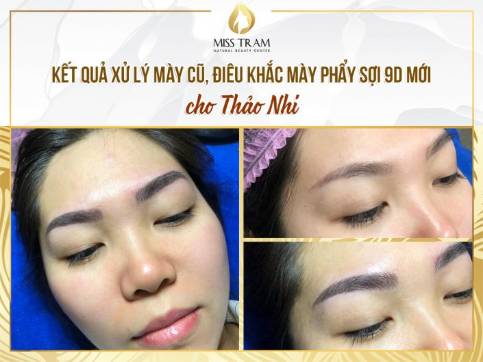 Handling old eyebrows - Sculpting new eyebrows with natural fibers for Ms. Thao Nhi