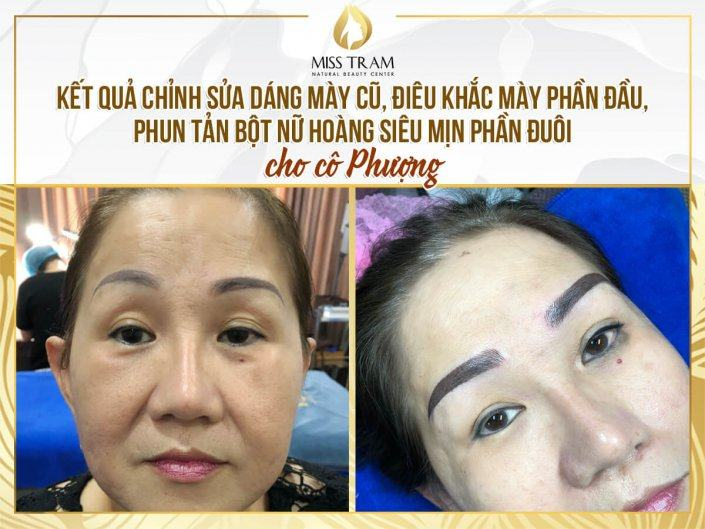 Handling Old Eyebrows - Sculpting Head & Spraying Finely Fine Powder For Ms. Phuong