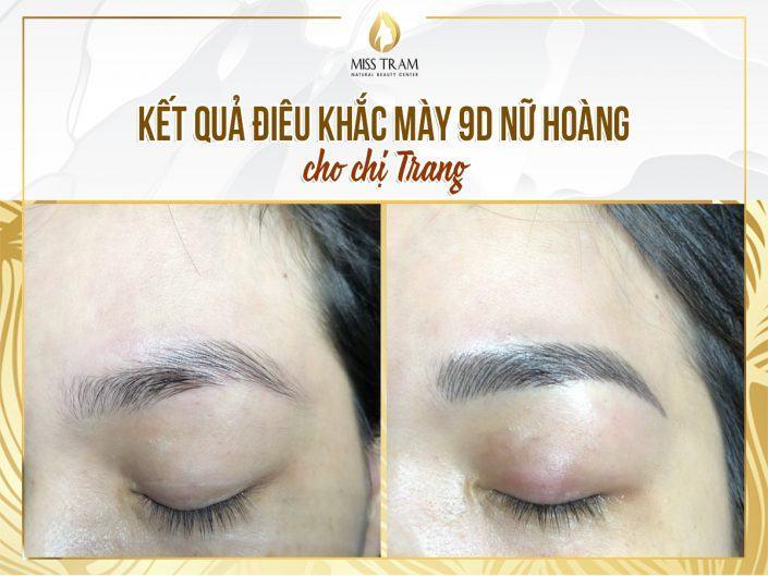 Kết Quả Điêu Khắc Chân Mày 9D Cho Chị Trang Bằng Mực Nữ Hoàng Chiết Xuất 100% Từ Thảo Dược Thiên Nhiên