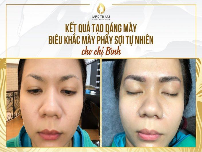 The result of shaping & sculpting natural fiber eyebrow for Ms. Binh