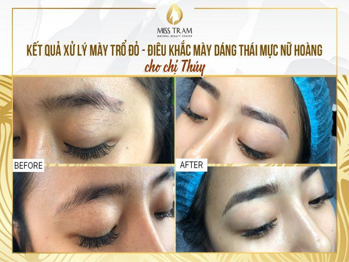Result of Treatment of Red Eyebrow Sculptor - Sculpture of Thai Lady Toner