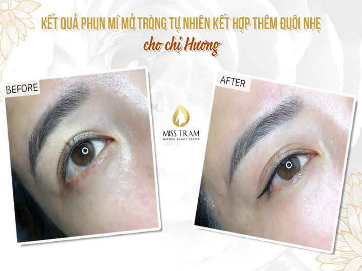 The result of natural eyelid spraying combined with a light tail for Ms. Huong