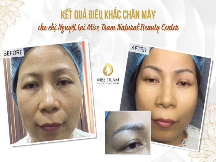 The Results of Sculpting Eyebrows with Natural Fibers for Ms. Nguyet