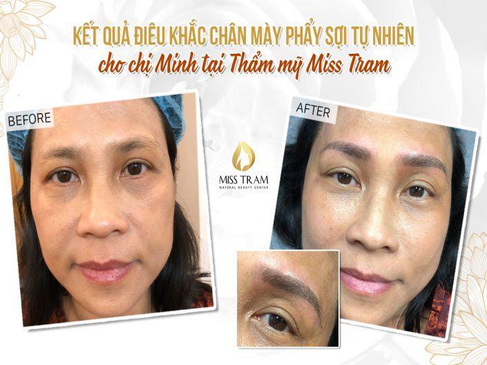 Kết Quả Điêu Khắc Chân Mày Phẩy Sợi Cho Chị Minh Tại Miss Tram Natural Beauty Center