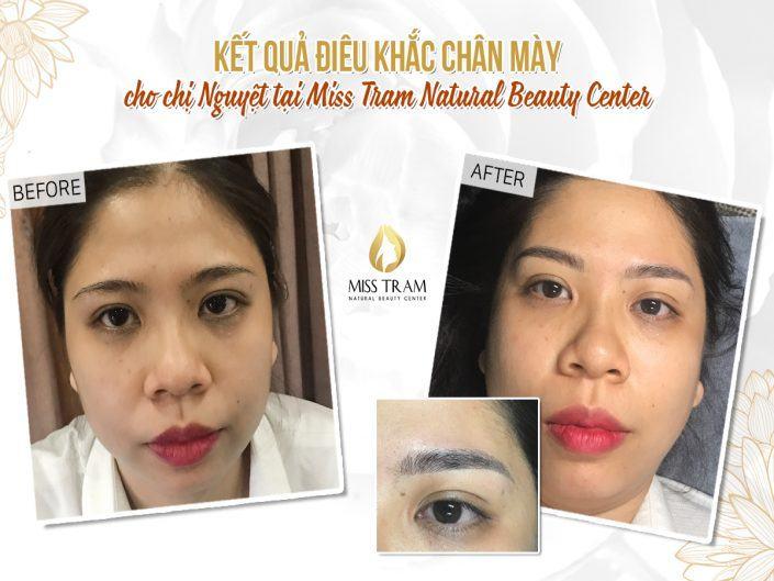 Kết Quả Điêu Khắc Chân Mày Cho Chị Nguyệt Tại Miss Tram Natural Beauty Center