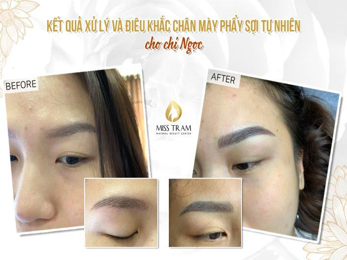 The Result of Processing and Sculpting Eyebrow Scraping Natural Fiber For Ms. Ngoc