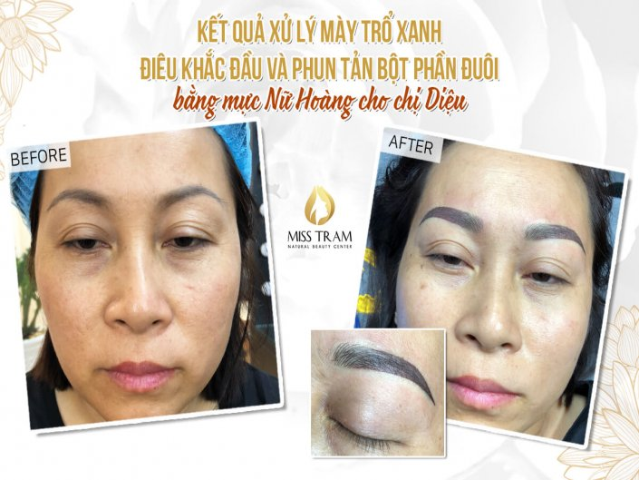 Result Of Treatment - Sculpture Combined Eyebrow Powder Spraying For Ms. Dieu
