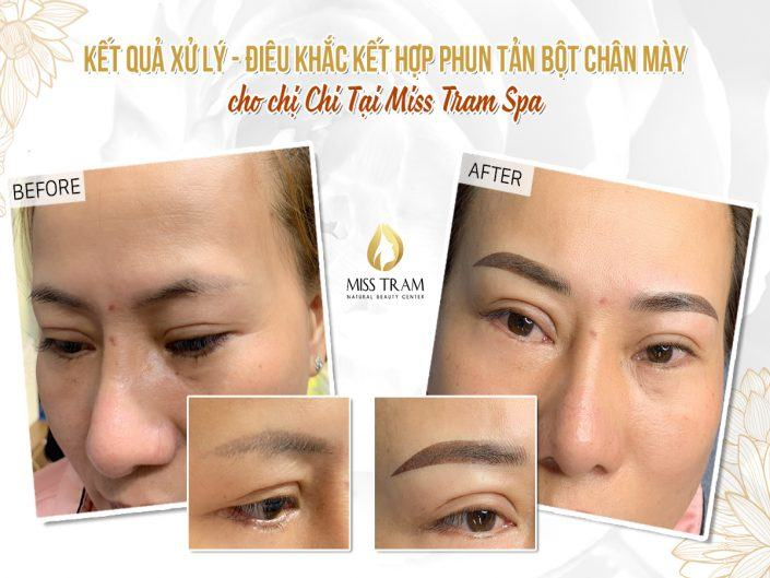 Results of Old Eyebrow Treatment - Head Sculpture Combined With Eyebrow Powder Spraying For Chi Chi