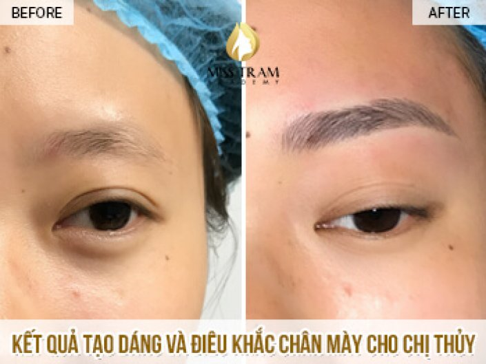 The Result of Shaping and Sculpting Eyebrows For Ms. Thuy