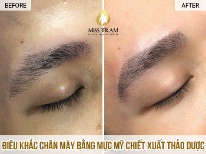 Điêu Khắc Chân mày Cho Anh Thắng Sử Dụng Mực Thảo Dược Tự Nhiên Tại Miss Tram Natural Beauty Center
