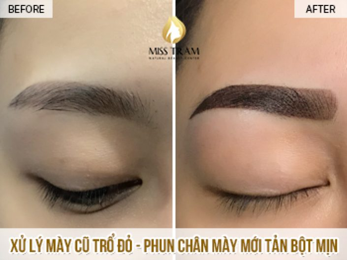 Treat Old Eyebrows With Red Blowing And Spray Newly Use Powder For American Ink Ms. Thanh