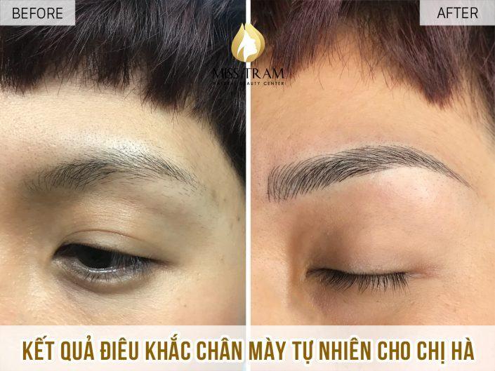 Kết Quả Điêu Khắc Chân Mày Phẩy Sợi Tự Nhiên Cho Chị Hà Tại Miss Tram Natural Beauty Center