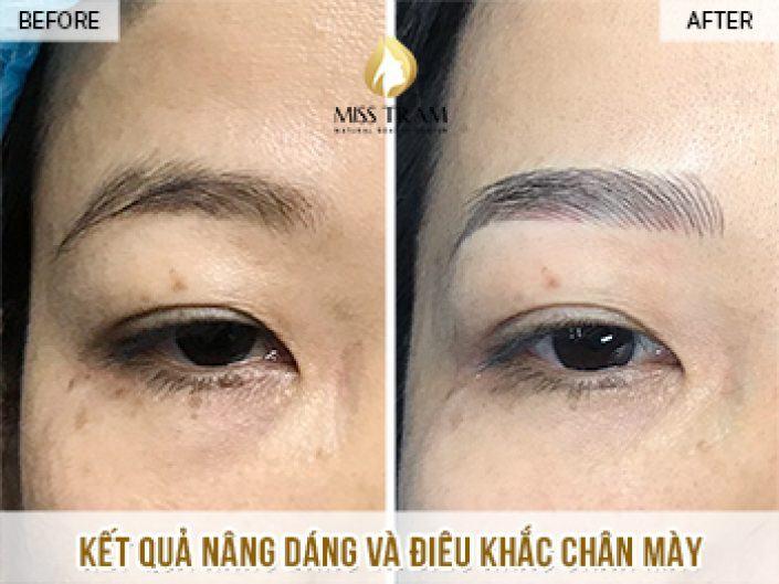 Nâng Dáng Và Điêu Khắc Chân Mày Cho Chị Tuyết Tại Miss Tram Natural Beauty Center