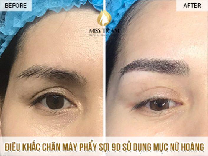 Điêu Khắc Chân Mày Phẩy Sợi 9D Mực Mỹ Cho Chị Giang Tại Miss Tram Natural Beauty Center