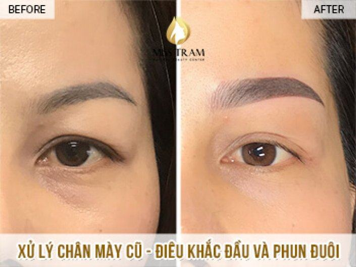 Results of Old Eyebrow Treatment - Head Sculpture Combined Spraying Powder For Sister Silk