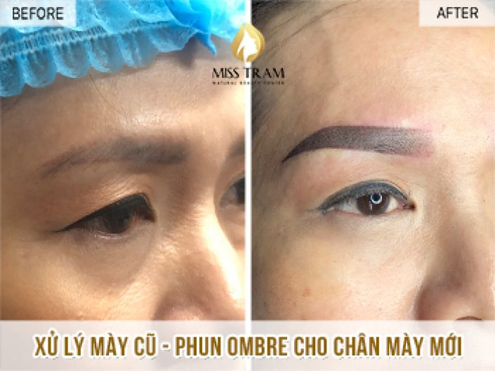 Treating Old Eyebrow - Spraying Ombre New Eyebrow For Ms. Thuy
