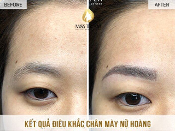 Sculpting the queen's eyebrows for Ms. Ngan