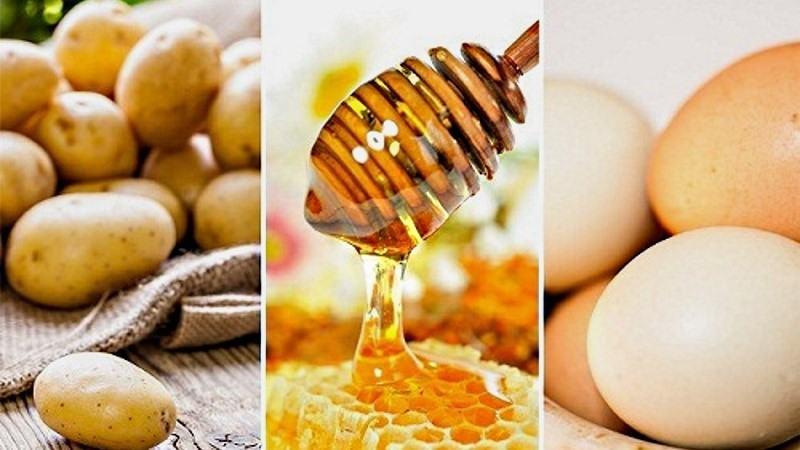 Sử dụng mặt nạ khoai tây kết hợp lòng trắng trúng và mật ong