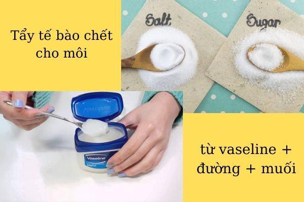 Hỗn hợp kem Vaseline + muối + đường